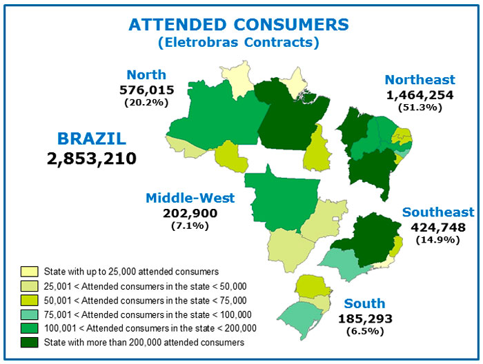 Map of Consumers Attended by the Luz para Todos Program - Eletrobras Contracts